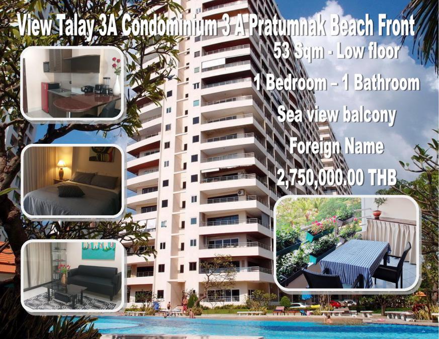 Pattaya Pratumnak 52 Sqm Condo in Resale